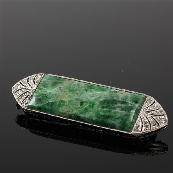 Art Deco 18k white gold and Jade Pin with rose cut diamonds. 2 1/2