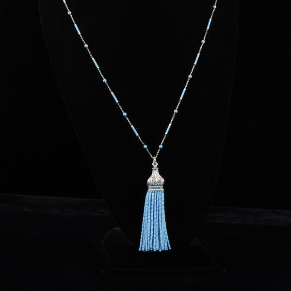 Art Deco Style white gold 18K tassel necklace with pave diamonds, Persian turquoise on chain and glass beaded fringe.