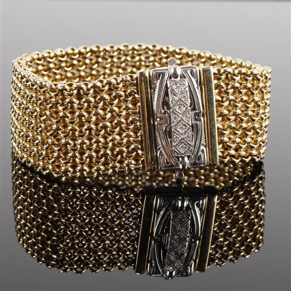 Art Deco Yellow & White Gold 14k Diamond Wide Mesh Cuff Bracelet, fine estate jewelry.