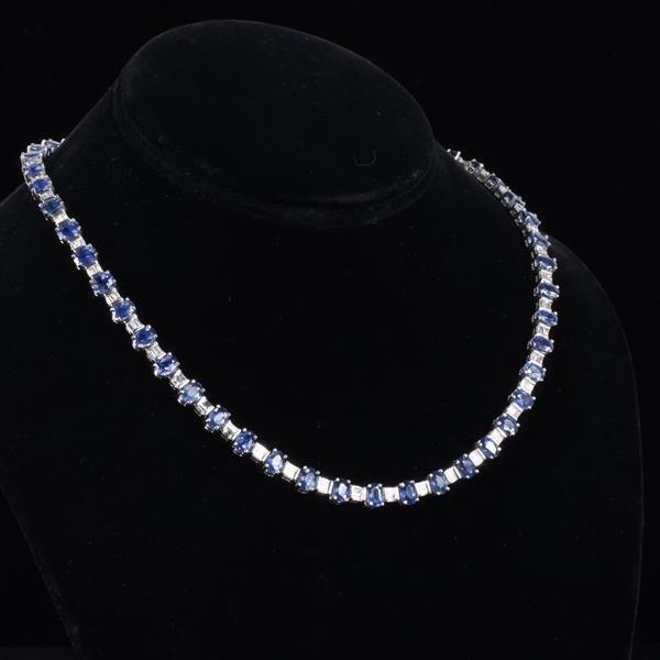 Platinum Ceylon Sapphire & Diamond Riviera Necklace