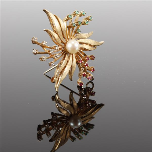 Vintage Modern Retro 14K Yellow Gold Starburst Diamond, Emerald, and Ruby, Pearl Flower Pin. 1 1/2