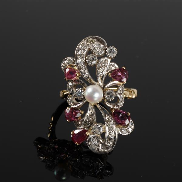 Lady''s 14k Yellow Gold Art Nouveau Ring with Pearl Faceted Rubies, Round Single Melee Cut Diamonds & A round cultured white pearl.
