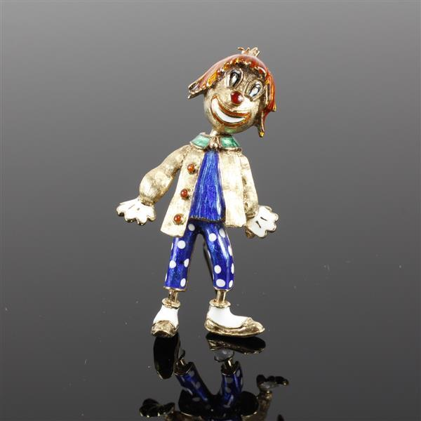 Martine Retro Vintage 14K Yellow Gold Figural Enameled Clown Brooch Pin with articulated movable head. 2 1/2