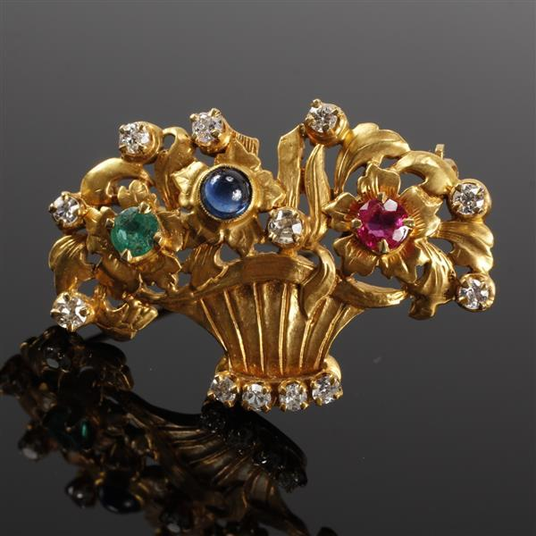 Yellow gold 14K diamond, ruby, sapphire and emerald flower basket pin brooch. 1 1/2