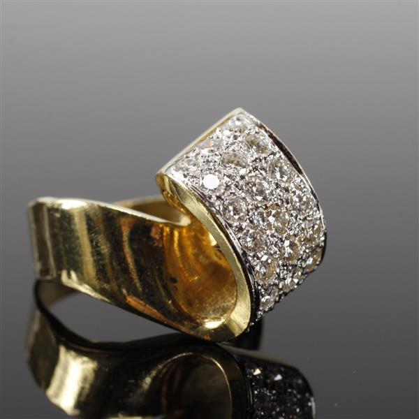 Yellow Gold 18K Modern Freeform Pave Diamond Estate Ring