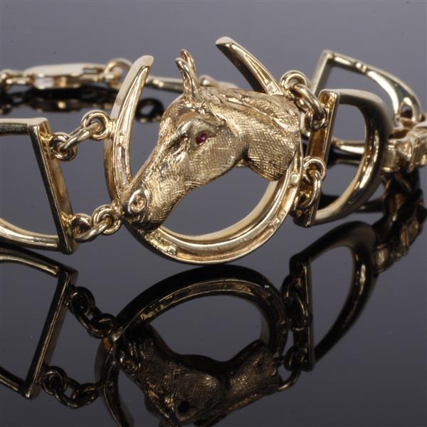 Yellow Gold 14K Horse Head, Horseshoe, and Stirrup Derby Bracelet.