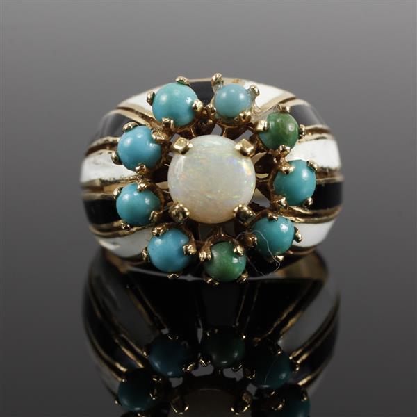 Vintage Modern 14K Yellow Gold Enamel Ring With Opal and Turquoise Cabochons. Size 6