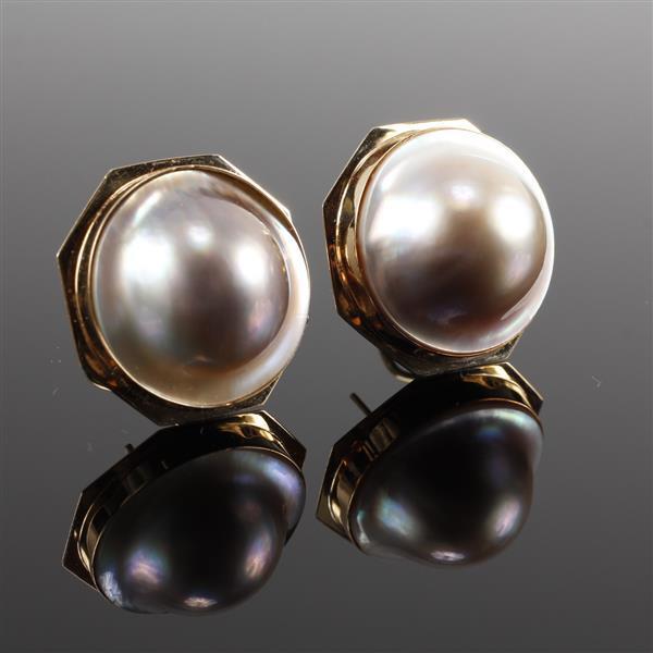 Vintage Modern 14K Yellow Gold Mabe Pearl Pierced Earrings 1