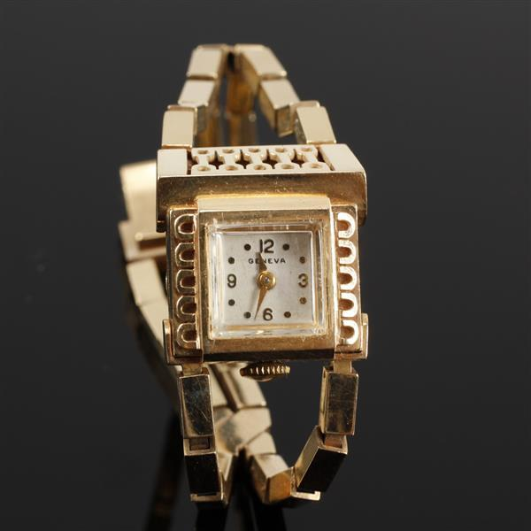 Geneva Yellow gold 14k Retro Ladies Bracelet Watch