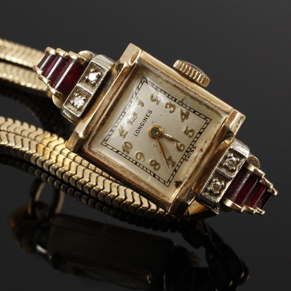 Longines Vintage Art Deco Yellow gold 14k Ruby and Diamond Ladies Bracelet Watch