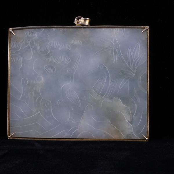 Yellow Gold Mounted Etched Scenic Chinese Lavender Jade LARGE Plaque Pendant.