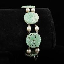 Jadeite Chinese carved jade medallion and pearl white gold bracelet 6