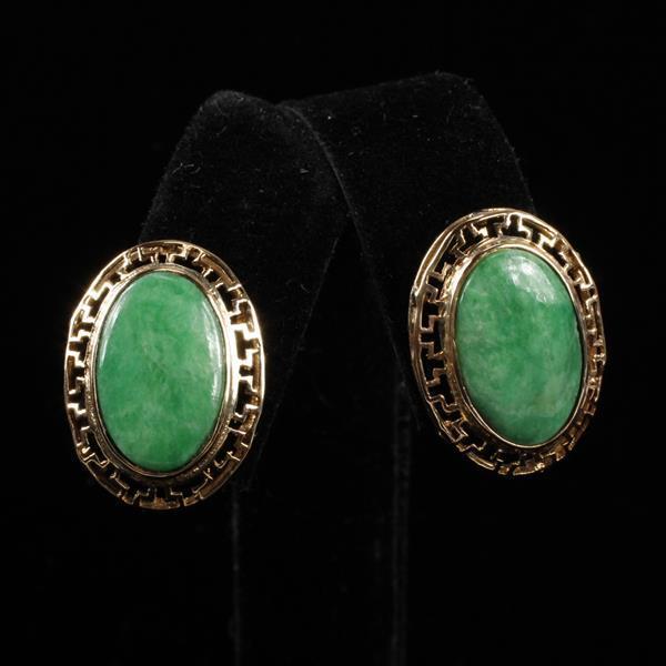 Yellow 14K Gold Oval Burma Jade Pierced Earrings; Circa 1960''s.