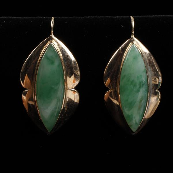 Yellow 14K Gold Retro Jade French Ear Wire Earrings; Circa 1940''s.