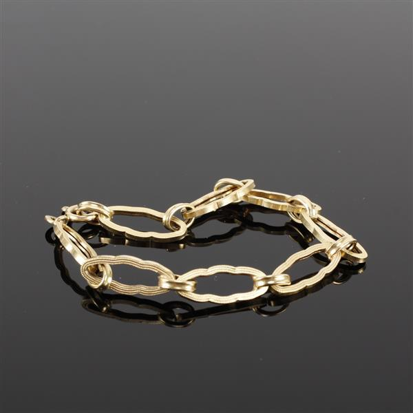 Yellow Gold 14K Vintage Asian inspired open hollow link bracelet, Italy 585. 7.25