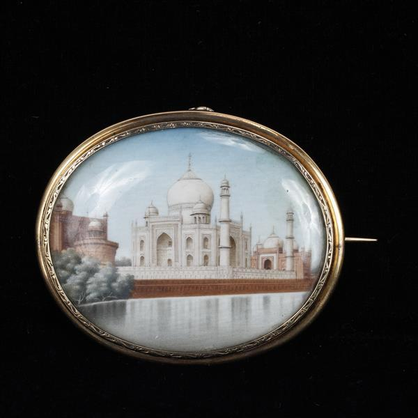 Taj Mahal Hand Painted Miniature Scenic Painting on Ivory 14K Gold Pin / Hair Receiver Mourning Jewelry Mount.