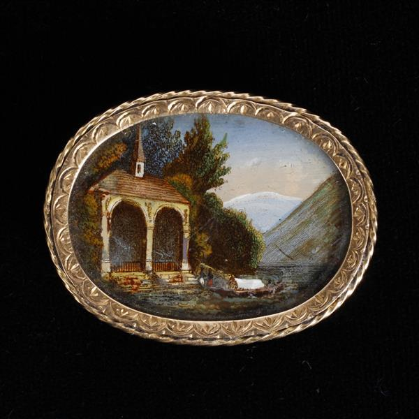 Antique 19th Century Eglomise Scenic Reverse Painted Landscape mounted in 18K Gold Pin