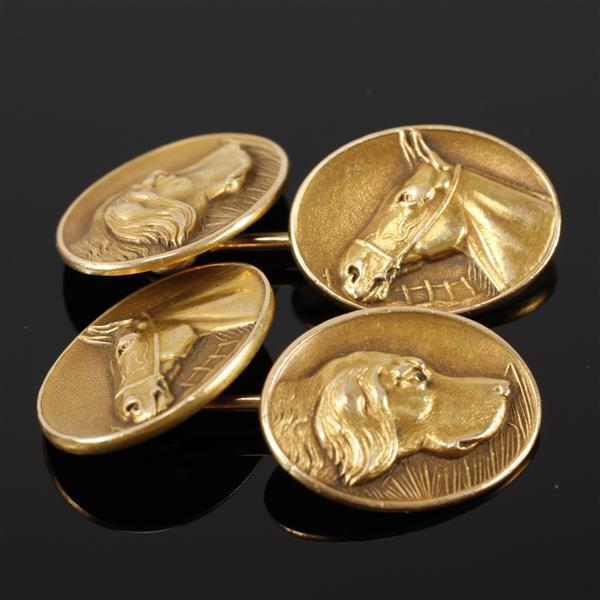 Yellow Gold 14K Cuff links with reversable dog & horse head motif.