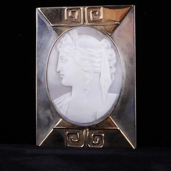 Art Deco Neo Classical Profile Cameo in 14K gold and sterling silver mount.