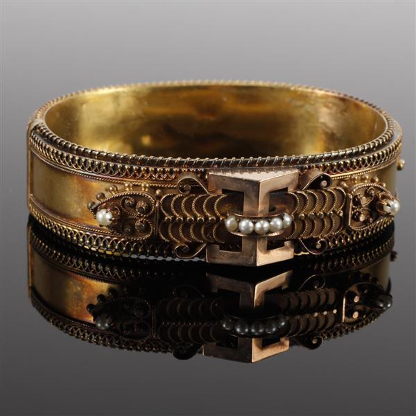 Antique Victorian 14K Rose and Yellow Gold hollow hinged bangle bracelet with applied filigree and seed pearl accents. 3