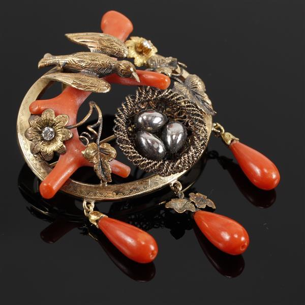 Aesthetic Victorian Bird on Nest 14K Gold Mixed Metal Pin Brooch with Red Coral, filigree and diamond accents.