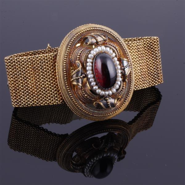 Antique Victorian 14K gold garnet cabochon and seed pearl filigree medallion on mesh bracelet.
