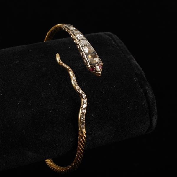 Antique Victorian Egyptian Revival 21K Gold; coiling serpent arm band wrap bracelet with Rose Cut Diamonds and Rubies