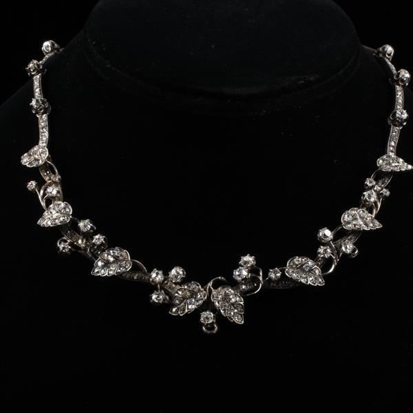 Early Victorian silver and diamond layered floral vine necklace; 2.5-3ct.tw mine cut stones.