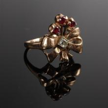 Edwardian rose gold 14K diamond and ruby floral bow ring. Size 5