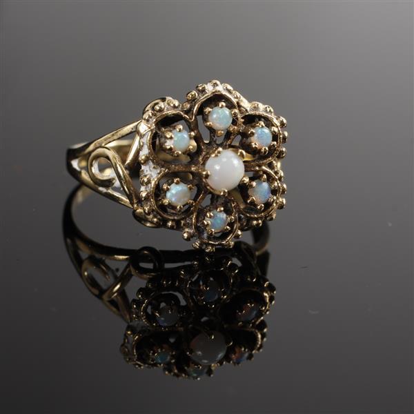 Antique 14k yellow gold opal florette ring. Size 8