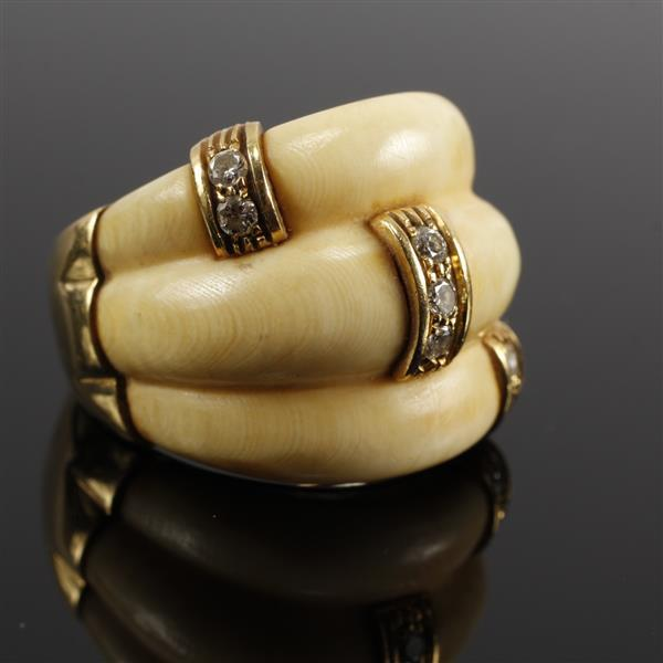 Victorian Carved Ivory Estate Ring mounted with gold and diamonds. Size 6.5