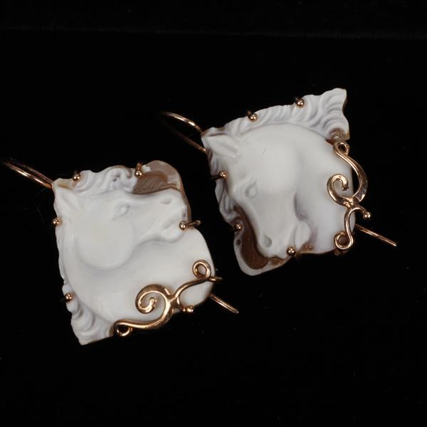 Victorian Rose Gold Vermeil Mounted Pair Horse Head Cameos; French ear wire earrings. 1