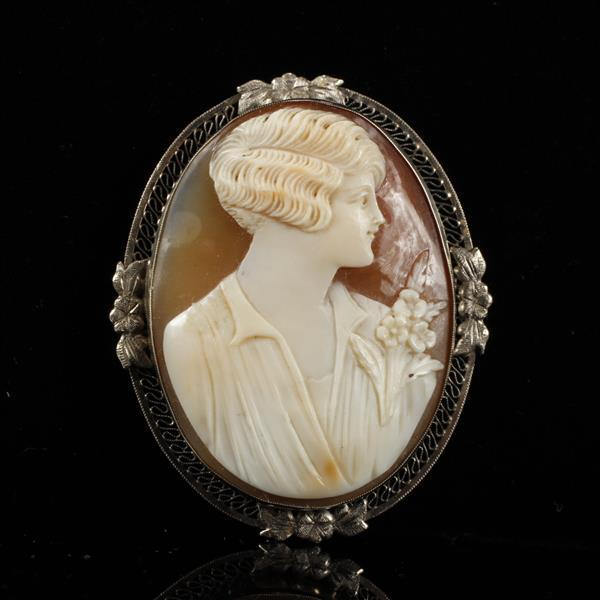 Art Deco Shell Cameo Pin Pendant in14K white gold filigree mount; profile of woman with bob haircut. 2