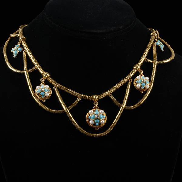 Stunning Antique 14K yellow gold Etruscan Revival Festoon Snake Chain Necklace with turquoise, seed pearl and diamond cluster medall...