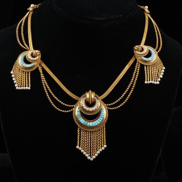Antique Victorian 18K Yellow Gold Festoon Necklace with Channel Set Turquoise medallions.