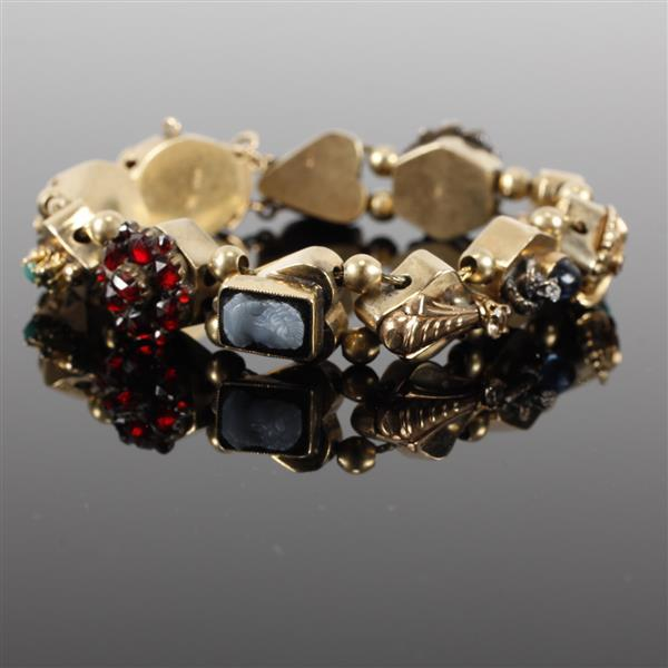 Victorian 14K Gold Multi Jeweled Slide Charm Bracelet; cameos, garnets, ruby, turquoise, diamond accents. 7