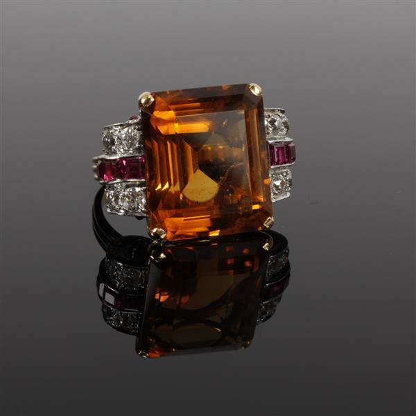 Vintage Retro 18K Yellow & White Gold Square Citrine diamond and ruby Estate Cocktail Ring.