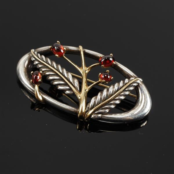 Tiffany & Co. 2003 Gold and Sterling Silver Floral Brooch Pin with Ruby Cabochons. 2