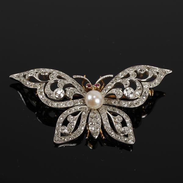 Vintage 18K White & Yellow Gold Pave Diamond Butterfly Figural Estate Brooch Pin / Pendant with Pearl and Ruby accents.