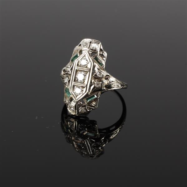 Art Deco 18k White Gold Filigree Diamond Ring with synthetic emerald glass accents. Marked FB. Size 7