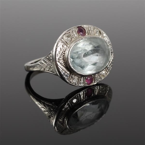 White Gold 14K Art Deco Aquamarine, diamond and ruby Ring Size 6
