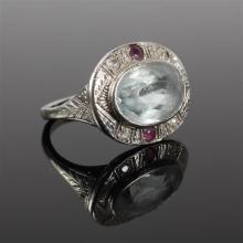 White Gold 14K Art Deco Aquamarine, diamond and ruby Ring Size 6