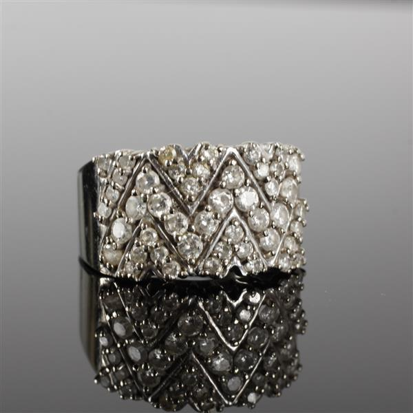 White gold 14k pave diamond zig zag band ring