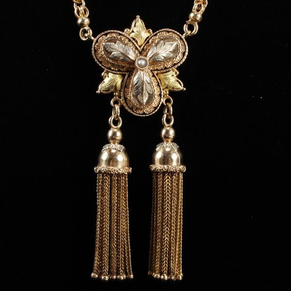 Victorian Aesthetic multi tone gold tassel necklace with fob; green, rose and white gold trefoil medallion.