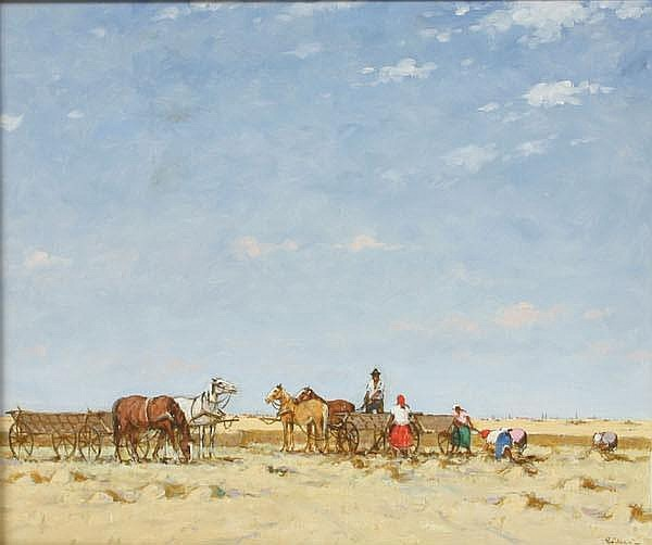 Josef Csillag Hungarian Desert Workers Oil Canvas
