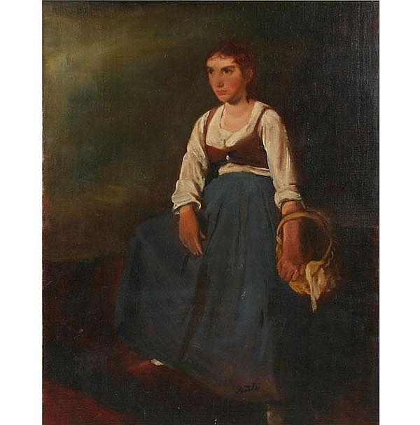 Péter Szüle Portrait of Hungarian Peasant Girl Oil