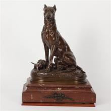 Charles Valton, (French, 1851-1918), Chienne assise et ses petits, LARGE SCALE bronze sculpture on marble base, On base 22