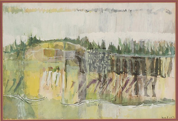 Loren Edward Dunlap, (American, b.1932), abstract landscape, watercolor, 13