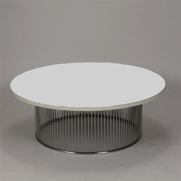 mcm midcentury modern round coffee table chrome rod drum ba. Black Bedroom Furniture Sets. Home Design Ideas