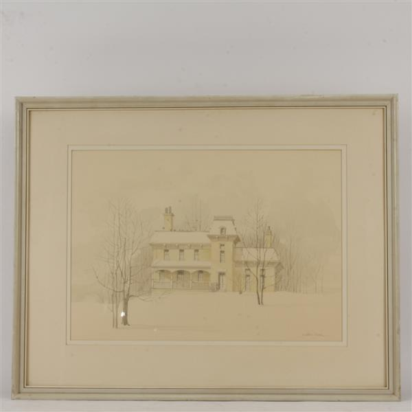 Wilbur M. Meese, (American, 1910-1998), winter landscape with Victorian house, watercolor on paper, 19